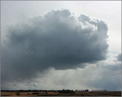 Early spring convection west of Innisfail,AB - March 27/2008
