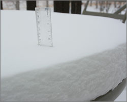 9cm of snow by Sunday morning April 20/2008