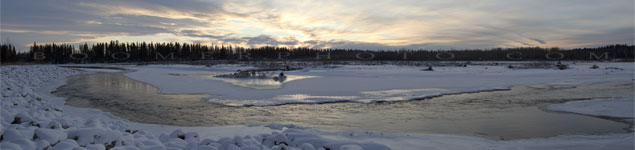 Sunset over the Red Deer river south of Markerville,AB - Dec.27, 2008