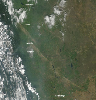 MODIS image from August 9, 2009