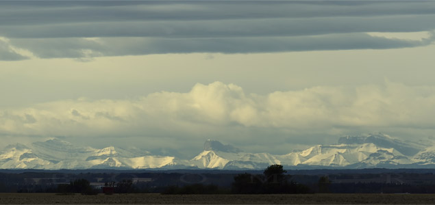 Snow covered Rocky mountains - October 6, 2009