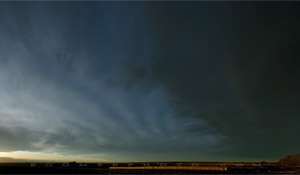 Gravity waves above mountain waves - west of Red Deer, AB - Nov.9, 2009