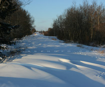 Snowdrifts cover a county road west of Red Deer,AB - Dec. 6, 2009