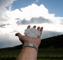Lots of hail at Big Springs Hill park turnoff, west of Airdrie Alberta - 7:15 pm July 30, 2010