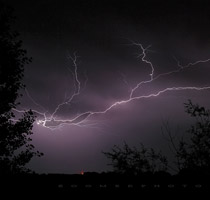 First lightning shot of the season - south of Red Deer, Alberta - July 31, 2010
