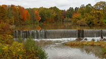 Fall colors on Mill Pond in Otterville, Ontario - October 13, 2011