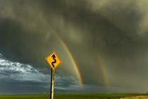 Double Rainbow north of Olds, AB - July 1, 2012
