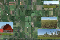 Map and photos of wind damage area along Bergen Road west of Olds, AB - July 6, 2012