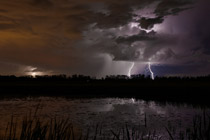 Severe thunderstorm and lightning near Pine Lake, Alberta - August 4, 2012