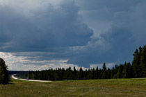 Alberta foothills thunderstorm trying to organize near Nordegg, Alberta - August 5, 2012