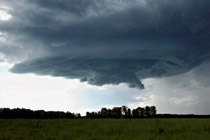 Supercellular looking thunderstorm south of Rocky Mountain house, Alberta - August 5, 2012