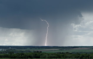 Lightning strike west of Didsbury, AB June 7, 2013