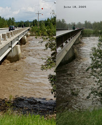 Garrington bridge flood June 18, 2005 vs June 21, 2013