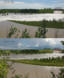 Dickson Dam flood June 19, 2005 vs June 21, 2013
