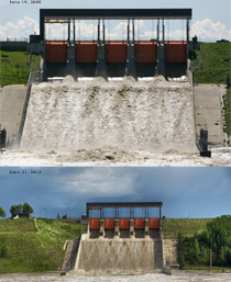 Dickson dam floodgates June 19, 2005 vs June 21, 2013