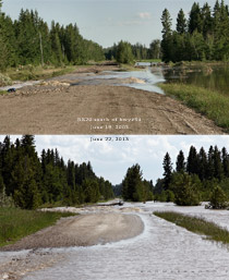 Range road 20 south of hwy#54 flooding June 19, 2005 vs June 22, 2013