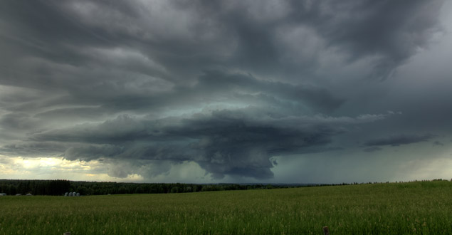Supercell thunderstorm near Caroline,AB June 29, 2013