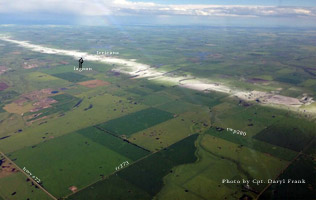 Hail track over Irricana taken by Cpt. Daryl Frank from Jazz Airline approaching YYC July 6, 2013