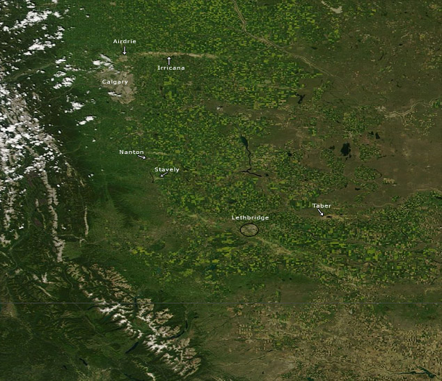 NASA Worldview of hail scars over southern Alberta July 10, 2013