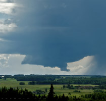 Low precip supercell northwest of Sundre, AB - 5:36pm July 14, 2013