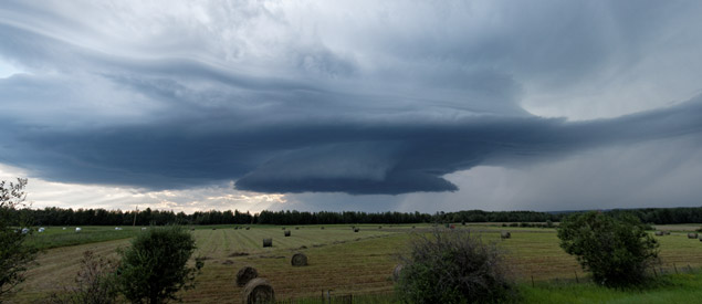 Supercell thunderstorm south of Alder Flats, AB - July 20, 2013