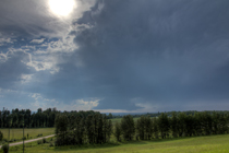 Thunderstorm with wall cloud southwest of Rocky Mountain House, AB - August 13, 2013