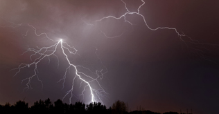 Lightning over south Red Deer, AB - August 28, 2013