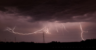 Lightning north of Red Deer, AB - August 29, 2013